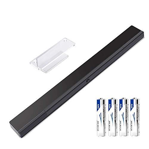 KIMILAR Wii Sensorleiste Kabellos, Ersatz Infrarot Sensor Bar Für Nintendo Wii / Wii U Video Game Wii Sensor Bar Wireless Mit 4 * AAA-Batterien und 1 Durchsichtige Halterung (Schwarz)