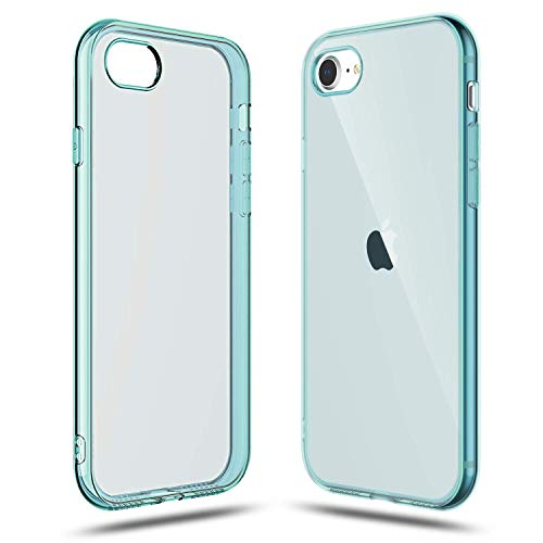 Shamo's Transparent Shock Absorption TPU Rubber Gel Case (Blue) Compatible with iPhone SE 2020 (2nd...