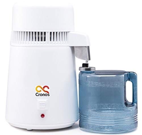 Cronos 4L Wasserdestilliergerät – 750W – Profi Wasserdestillierer - Effizienz: 1L/h – Leiser Betrieb – tragbar – Innenteil aus Edelstahl – Destilliergerät mit Sammelkanne