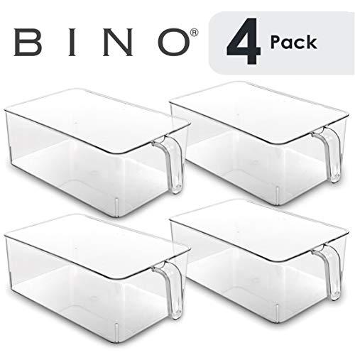 BINO Refrigerator, Freezer, Kitchen Pantry Cabinet Organizer Plastic Bin with Handle, Clear Plastic Storage Bins Refrigerator Organizer Bins Fridge Organizer Pantry Organizer Pantry (Large- 4 PACK)