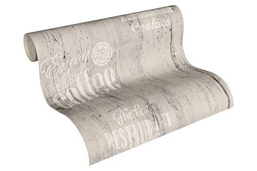 A.S. Création Papiertapete Simply Decor Ökotapete Tapete 10,05 m x 0,53 m grau schwarz weiß Made in Germany 334814 33481-4