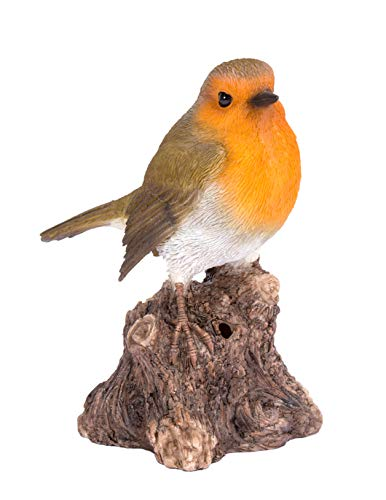 Singing Robin on Stump Highly Detailed Home or Garden Decoration with Built...