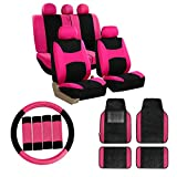FH Group Light & Breezy Flat Cloth Seat Covers + Carpet Liners Car Floor Mats with Colored Trim (Pink) Full Set with Gift - Universal Fit for Cars, Trucks & SUVs