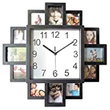VOSAREA Wood Picture Photo Frame for Wall Decor 16 Inch Photo Frame Wall Clock DIY Picture Frame Silent Wall Hanging Clock (No Battery)