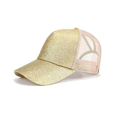 Vinteen Corea El Nuevo Sombrero de Verano Lentejuela Femenina Malla Cola de Caballo Gorra de Béisbol Gorra Salvaje Gorra de Sombra Al Aire Libre (Color : Gold)