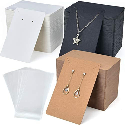 Coopay 360 Pieces Necklace Earring Display Cards with 360 Pieces Self-Sealing Bags for Stud Earrings Dangle Earrings Pendant Earrings Necklace Chain (oblique line card slot)
