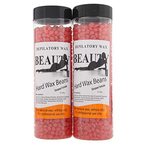 Bonjanvye Hair Removal for Men Hard Wax Strip Free Hard Wax Beans 800g Strawberry