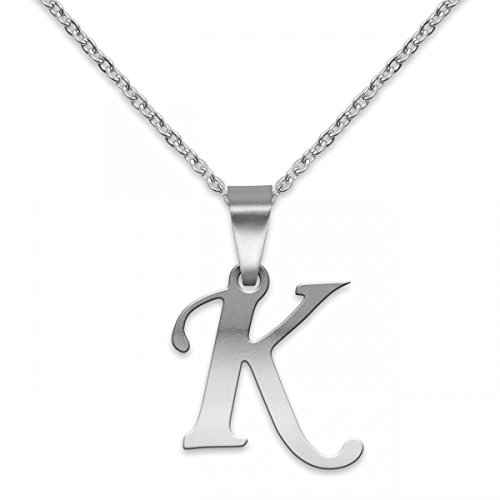SoulCats® polierter Buchstaben Kettenanhänger aus Edelstahl in Silber; Buchstabe: K