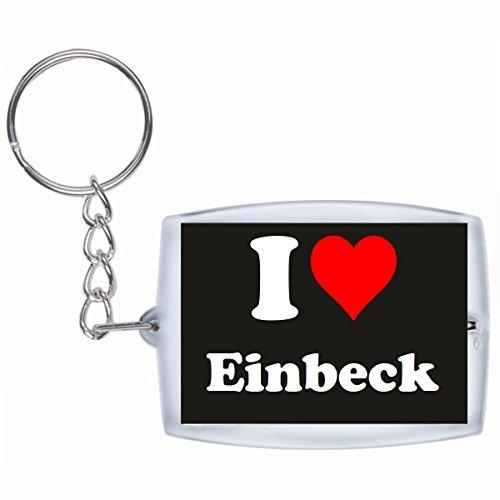 Druckerlebnis24 Schlüsselanhänger I Love Einbeck in Schwarz - Exclusiver Geschenktipp zu Weihnachten Jahrestag Geburtstag Lieblingsmensch