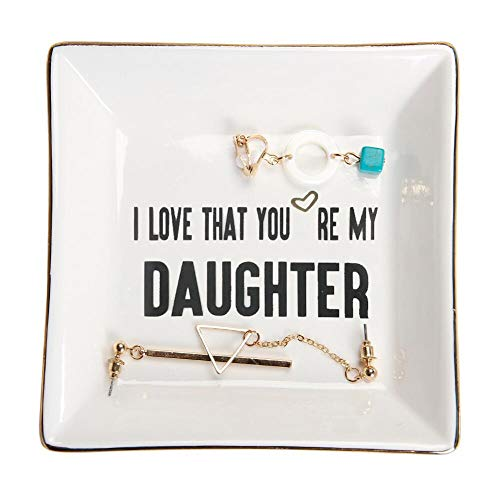 HOME SMILE Daughter Gifts from Mom Ceramic Ring Dish Decorative Trinket Plate -I Love That You are My Daughter