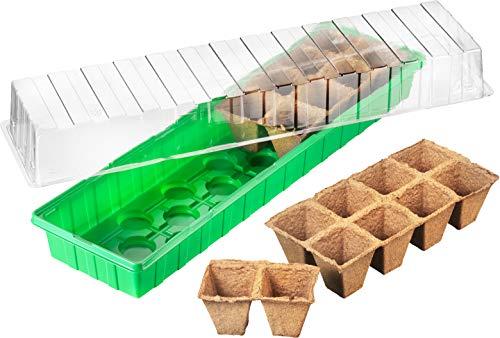 Connex Zimmer-Gewächshaus - 54 x 15 x 12 cm - für bis zu 16 Pflanzen - mit Vertiefungen & Wasserrinnen - Inklusive 16 Anzuchttöpfe / Anzuchthaus für Samen & Setzlinge / Zimmer-Treibhaus / FLOR79010