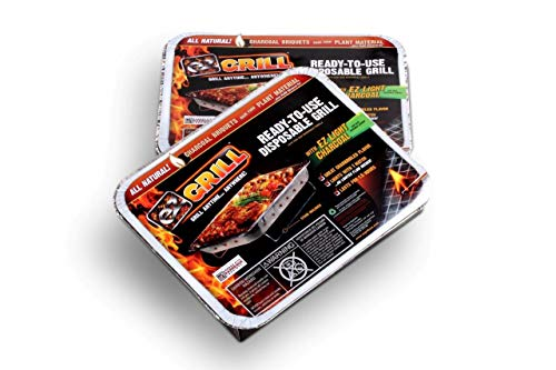 New Improved Disposable Grill by EZ Grill, Small Size-Charcoal BBQ Grill, Ideal for Camping and Tailgate Parties - Portable, Easy to Light, Convenient-Grill Anytime, Anywhere, Lasts 1.5 Hours, 2 Pack