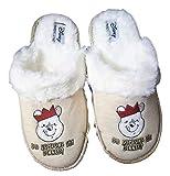Disney Winnie The Pooh Home Winter Slip-On Slippers Footwear Christmas New (3/4 UK, Small) Cream