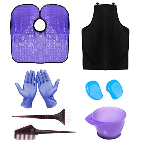 HYOUJIN 11Pcs Purple Hair coloring kit Dye Kit Brushes & Bowl