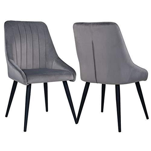 Duhome 2er Set Esszimmerstuhl aus Stoff Samt Stuhl Retro Design Polsterstuhl mit Rückenlehne Metallbeine Farbauswahl 8066, Farbe:Grau, Material:Samt