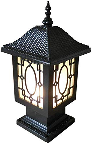 Beautiful Home Decoratielampen Outdoor Pedestal lampen Antink E27 zwart aluminium palen verlichting buitenlampen met glazen scherm tuin oldtimer Country House Villa Balcone Fence