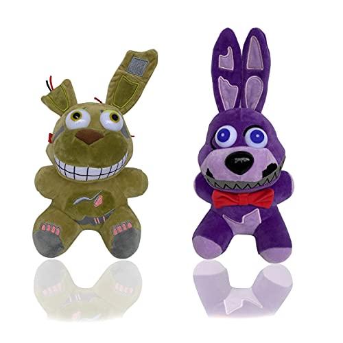 Five Nights 2 Plush Toys at Freddy's Doll Stuffed Animal Freddy Plush, Plush Toy Gift for Kid's FNAF Fans (Green Bonnie+ Purple Bonnie)