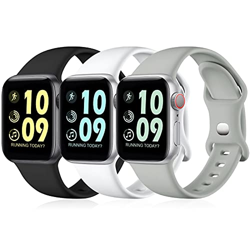 Maledan 3 Stück Armband Kompatibel mit Apple Watch Armband 44mm 42mm 40mm 38mm, Weiche Silikon Ersatz Sport Armband Kompatibel mit iWatch SE/Series 6 5 4 3 2 1, 38mm/40mm-S/M, Schwarz/Weiß/Grau