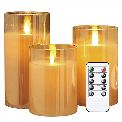 """Lezonic Glass LED Flameless Candles Battery Operated with Flickering Moving Wicks, Pack of 3 (D 3""""×H 4""""5""""6"""") Amber Real Wax Pillar Candles with Remote and Timer for Fireplace Halloween"""