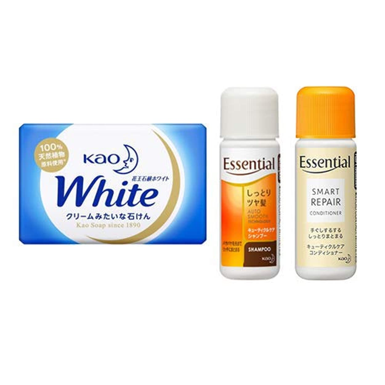 余暇警官何よりも花王(KAO) 石鹸ホワイト(Kao Soap White) 15g + エッセンシャルシャンプー 16ml + コンディショナー 16ml セット