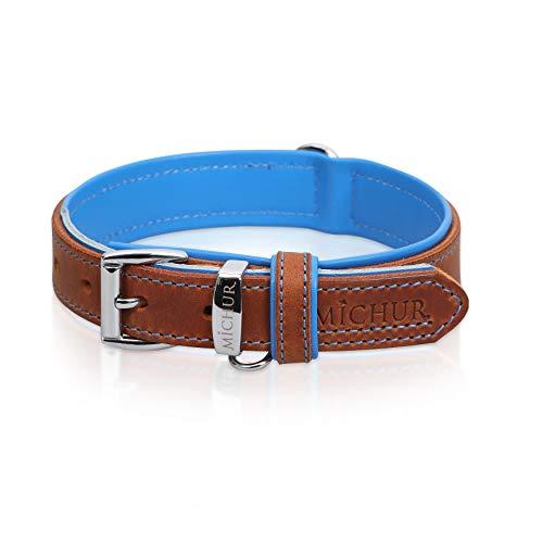 MICHUR Charly Cielo Collar de Cuero para Perros, Cuello, marrón con Costuras Azules y un Anillo para la Placa de identificación, Cuero, Disponibles en Diferentes tamaños, 51cm