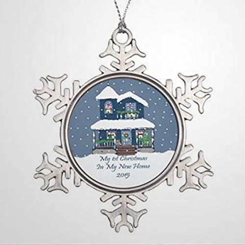DONL9BAUER Christmas Ornament 2015 New Home My 1St Christmas Snowflake Pewter Holiday Tags Metal Snowflake Pendant Xmas Decor for Anniversary Christmas Tree Hanging