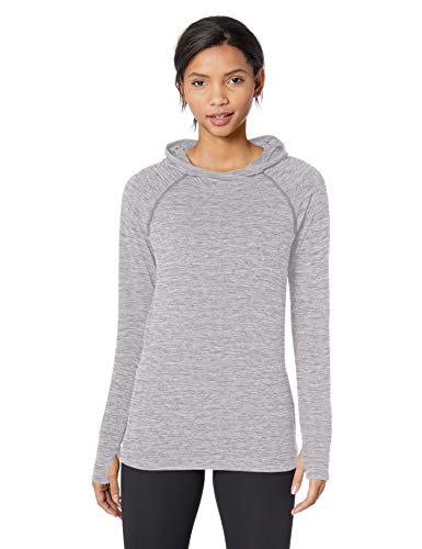Amazon Essentials Women's Brushed Tech Stretch Popover Hoodie, Grey Space dye, Medium