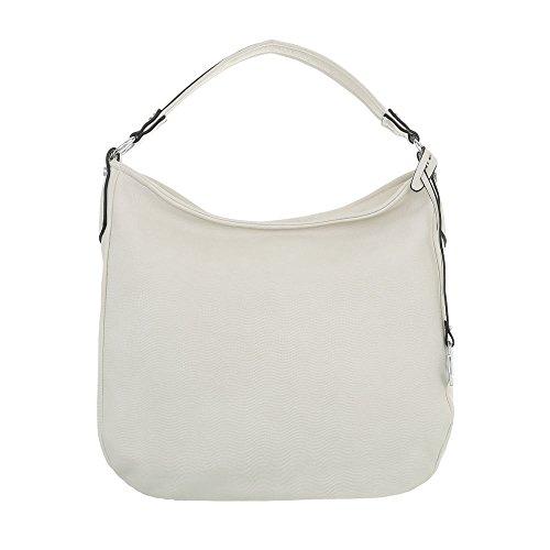 Ital Design Damen-Tasche Mittelgroße Schultertasche Handtasche Kunstleder Creme TA-1450-128