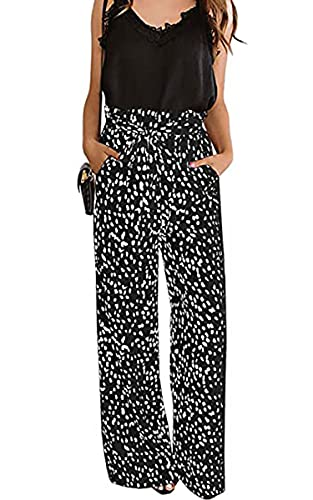 ECOWISH Womens Palazzo Pants Wide Leg Trousers with Pockets High Waist Casual Loose Flowy Pants with Belt 160 Black Large