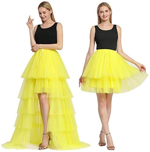 EllieHouse Womens Short Dance Costume Tutu Tulle Skirt with Detachable Train Yellow Size S P60