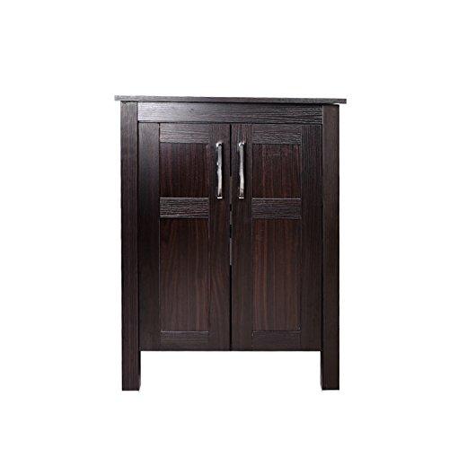 24 Inches Bathroom Vanity, Modern Stand Pedestal Cabinet, Wood Dark Coffee Fixture, without Mirror