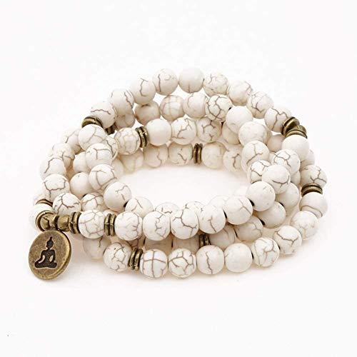 Steinarmband Naturstein Perlen Armband, Natürliche 108 Weiß Türkis Armband Buddha Anhänger Halskette Armband Yoga Buddhistischen Armband Persönlichkeit Kleidung Schmuck x (Color : Beige)