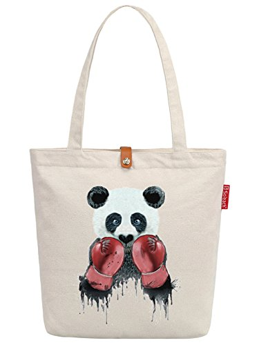 So'each Women's Panda Animal Boxer Graphic Top Handle Canvas Tote Shoulder Bag