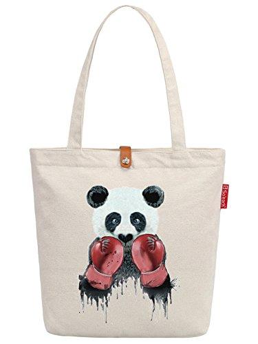 So'each Women's Panda Animal Boxer Graphic Top Handle Canvas Tote Shoulder Bag