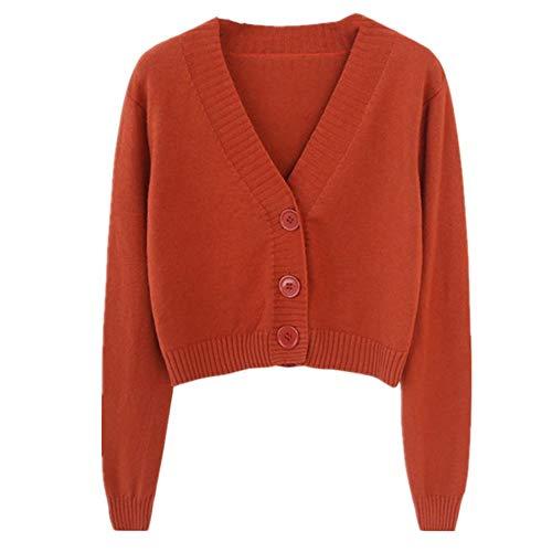 U/A punto de punto de la rebeca de la cosecha de las mujeres suéter corto manga larga cuello en V verde Rojo rosso M