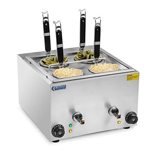 Royal Catering RCNK-4 Cuece PastasElectrico (4 L, 4 Cestas, 2 x 1500 W, 230 V, Grifos de Vaciado, Acero Inoxidable)