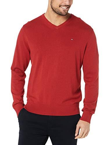 Tommy Hilfiger Men's Luxury Fine Knit Jumper, Haute Red Heather, XXL