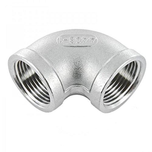 Conector de rosca como tubo con forma de codo de 90 grados...