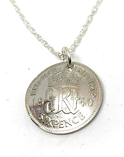 Domed Pendant 1940 Lucky Sixpence 80th Birthday gifts for women Sterling Silver 18in Chain