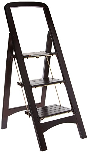 Cosco Three Step Rockford Wood Step Stool, Mahogany