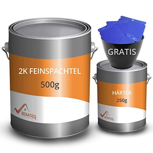 BEKATEQ Feinspachtel BK-110EP 2K Epoxidharz, 0,75 kg l Spachtelmasse für Boden, Auto & Boot l Risse & Löcher auffüllen I schnell härtend & wasserbeständig I ausziehbar auf 0 I inklusive Reparatur-Set