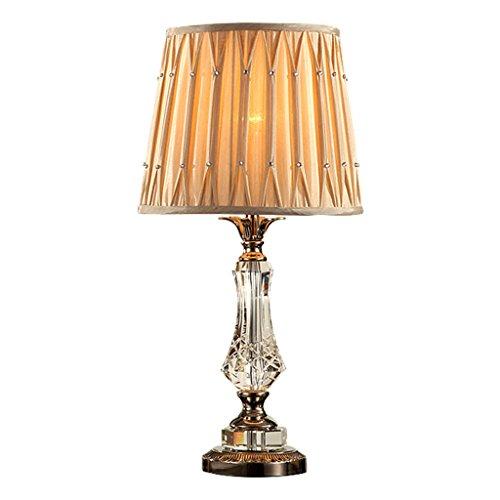 LEGELY Lampe de Table en Cristal Chaud de, Lampe de Chevet de Chambre Nordique Simple et Moderne, Abat-Jour de Tissu Pliable et Base de matériel, Beige 21.65in * 11.81in