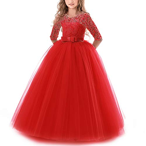 NNJXD Girls Pageant Embroidery Ball Gown Princess Wedding Dress Size (160) 11-12 Years Red