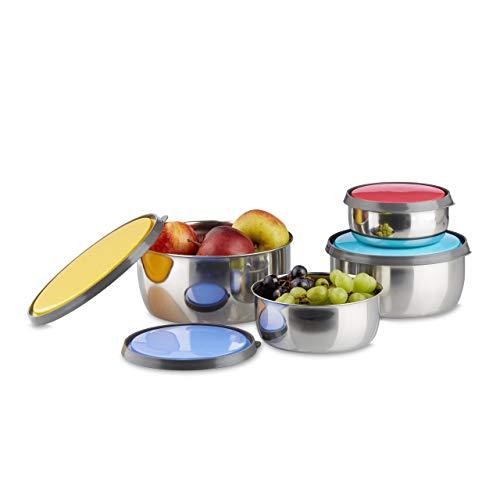 Relaxdays Schüssel Set mit Deckel, 4-teilig, verschieden groß, Edelstahl, Aromaschutz, Kunststoff, Küche, Camping, bunt
