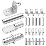 Shelf Pegs - 4 Styles Shelf Pins Kit Shelf Pins Shelf Support Pegs Cabinet Shelf Pegs, Nickel Plated Shelf Support with Screw Hole-80 Pack