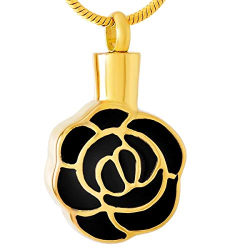 Collar De Urna De Cremación Collar De Urna En Forma De Rosa Para Cenizas Colgante De Cenizas De Acero Inoxidable Joyería De Recuerdo