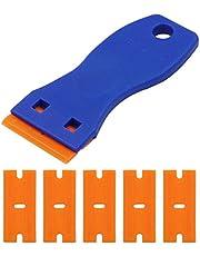 Plastskrapa med 10 st rakblad i plast med dubbla kanter dekal klistermärke borttagningsverktyg för att ta bort etiketter klistermärken dekaler från glas