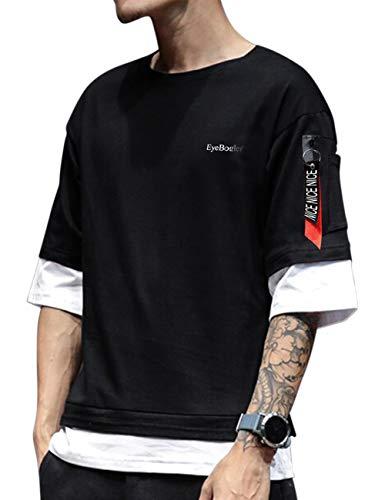 EYEBOGLER Men's Solid Regular fit T-Shirt (T322_Black White M)