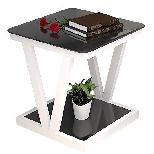 Home&Selected furniture / sofa bijzettafel, 2 dieren evenwichtig glas klein vierkante tabel, hoektafel, nachtkastje en plank voor woonkamer, slaapkamer, 19,6 ''; 23,6 ''' (kleur: B)