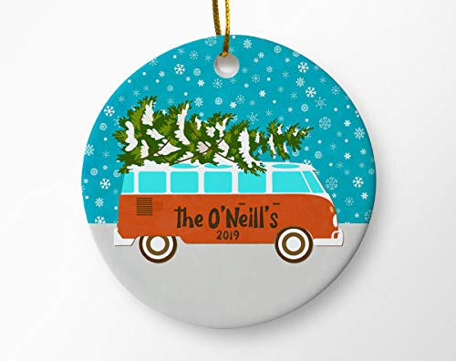 Dozili Familie Kerst Ornament, Familienaam Ornament, Achternaam Ornament, Gepersonaliseerde Kerst Ornamenten, Retro Bus Kerst Ornament